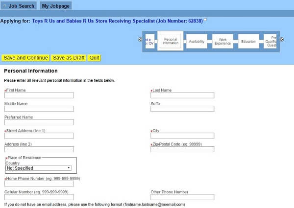 toys r us application form