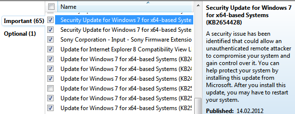 operating system patches and application updates