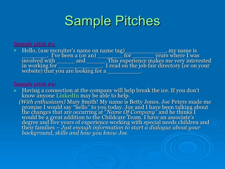 example of pitch for job application