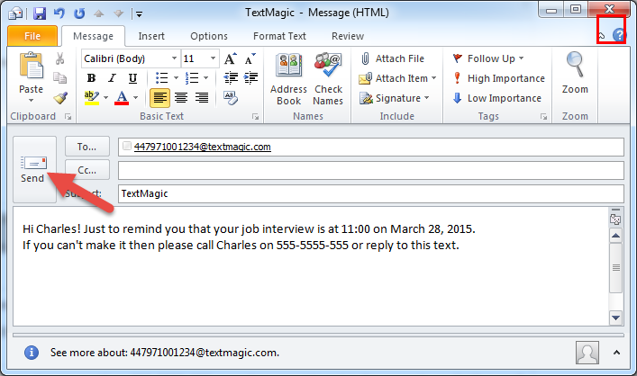 how to send sms from web application