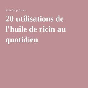 application de l huile de ricin
