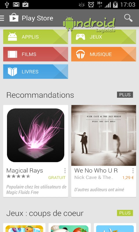 application google store pour android