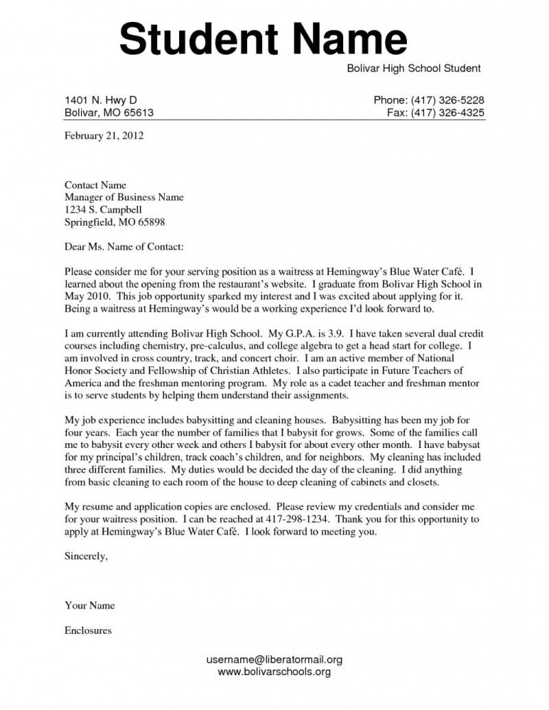 college application cover letter examples