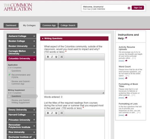 harvard college questions for the common application